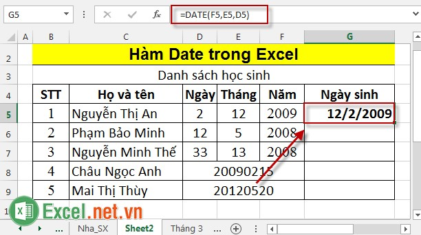 Hàm Date trong Excel 2