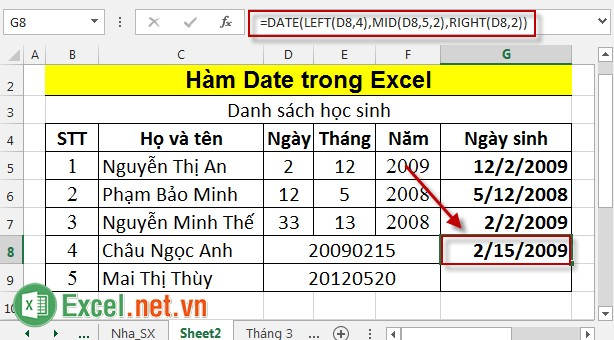Hàm Date trong Excel 5