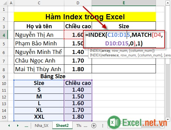Hàm Index trong Excel 7