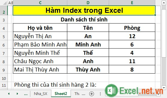 Hàm Index trong Excel