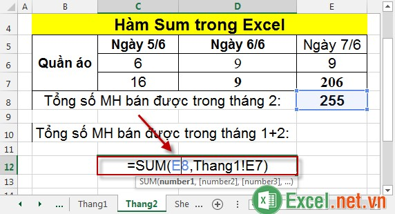 Hàm Sum trong Excel 11