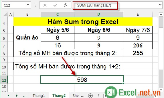 Hàm Sum trong Excel 12