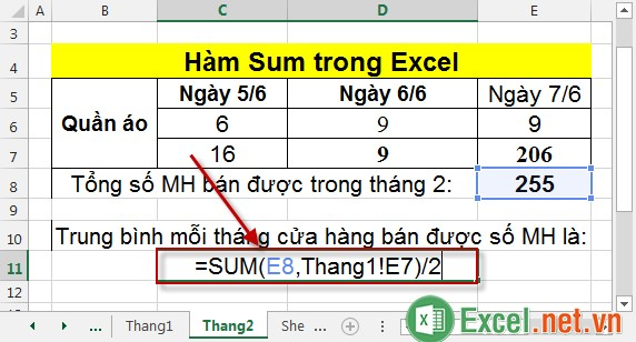 Hàm Sum trong Excel 13