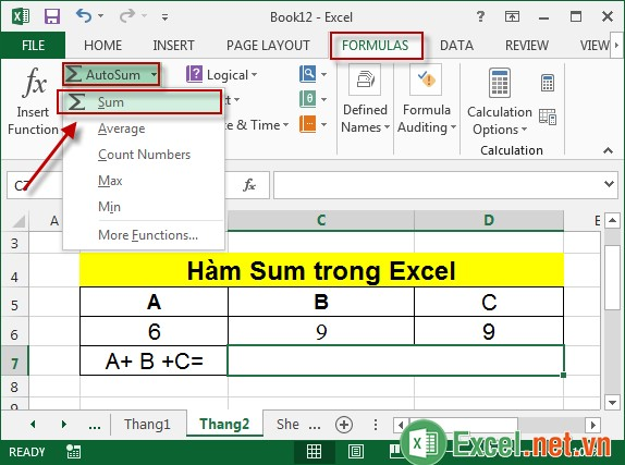Hàm Sum trong Excel 5