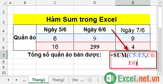 Hàm Sum trong Excel 7