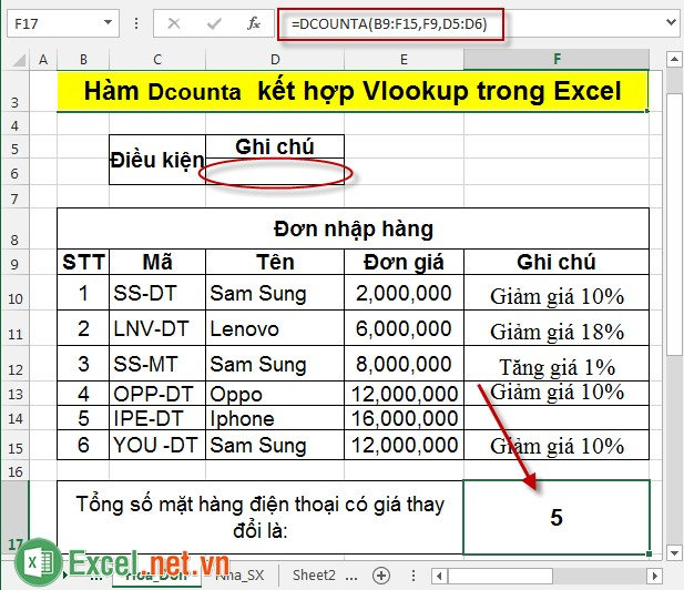 Hàm Dcounta kết hợp Vlookup trong Excel 4