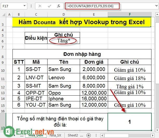 Hàm Dcounta kết hợp Vlookup trong Excel 5
