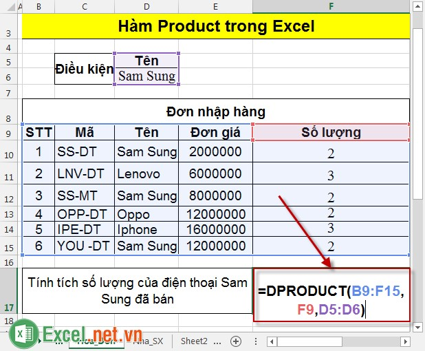 Hàm Product trong Excel 2