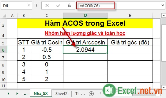 Hàm ACOS trong Excel 3
