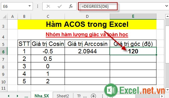 Hàm ACOS trong Excel 4