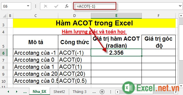 Hàm ACOT trong Excel 3