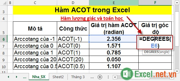 Hàm ACOT trong Excel 5