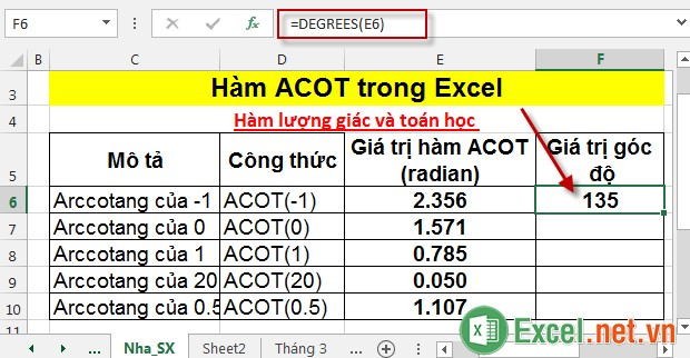 Hàm ACOT trong Excel 6