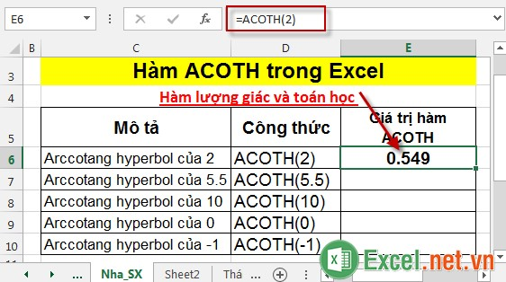 Hàm ACOTH trong Excel 3