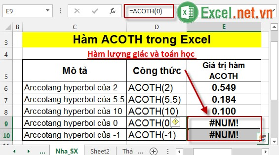 Hàm ACOTH trong Excel 5