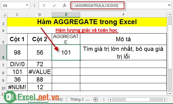 Hàm AGGREGATE trong Excel 2