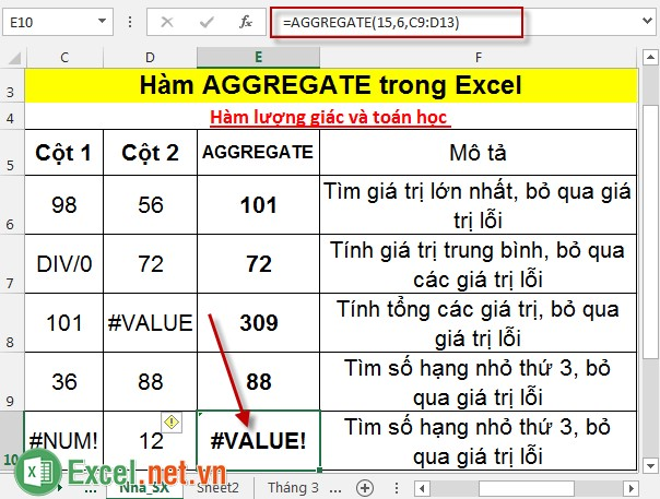 Hàm AGGREGATE trong Excel 6