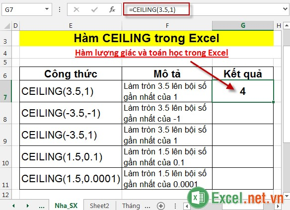 Hàm CEILING trong Excel 3
