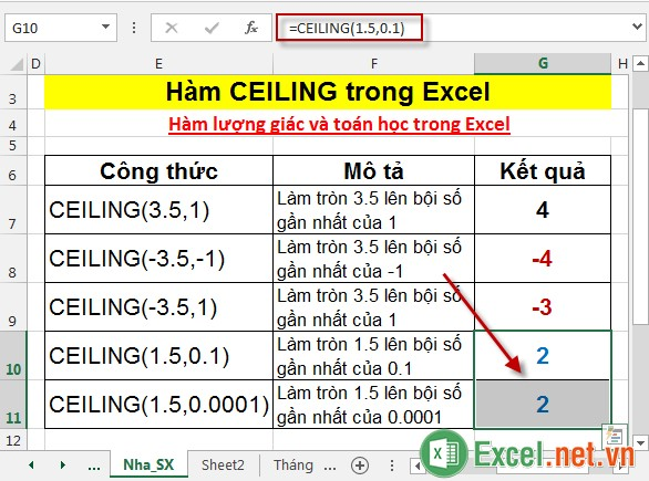 Hàm CEILING trong Excel 5