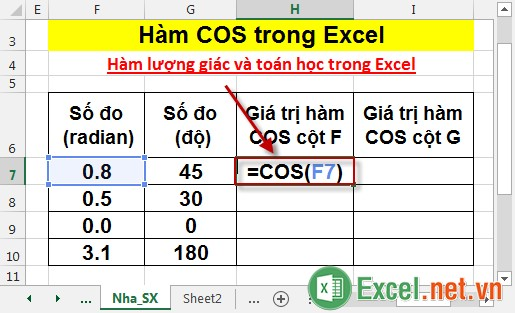 Hàm COS trong Excel 2