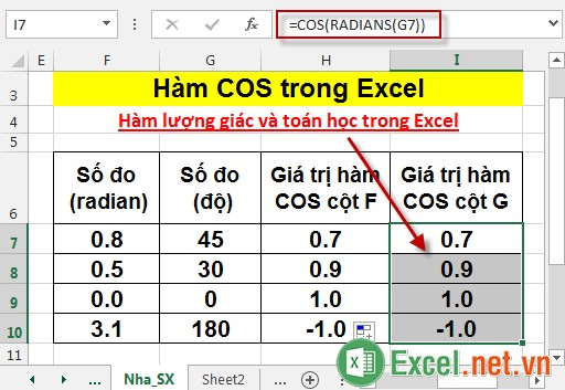 Hàm COS trong Excel 7