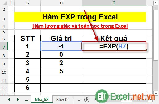 Hàm EXP trong Excel 2