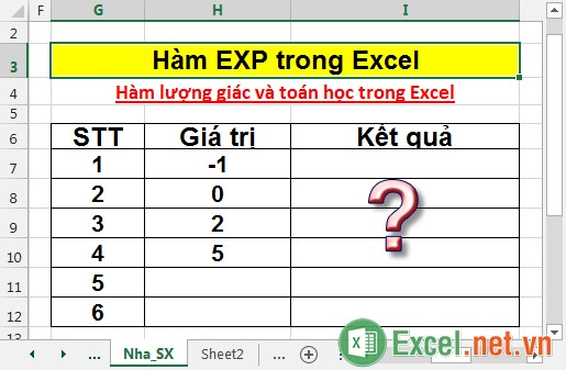 Hàm EXP trong Excel