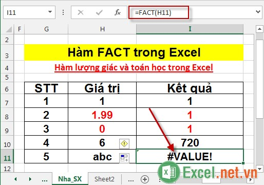 Hàm FACT trong Excel 5