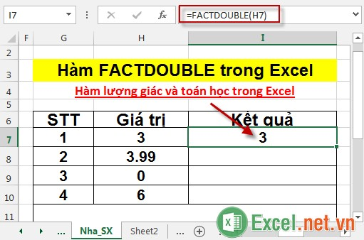 Hàm FACTDOUBLE trong Excel 3