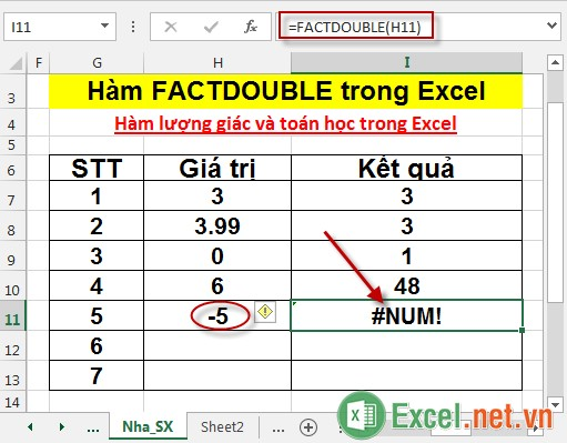Hàm FACTDOUBLE trong Excel 5