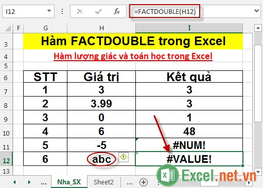 Hàm FACTDOUBLE trong Excel 6