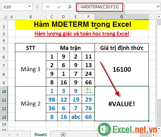 Hàm MDETERM trong Excel 5