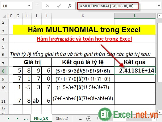 Hàm MULTINOMIAL trong Excel 3