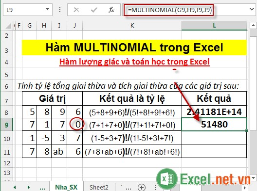 Hàm MULTINOMIAL trong Excel 4