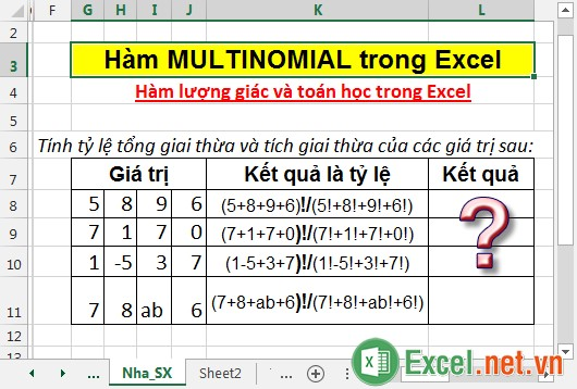 Hàm MULTINOMIAL trong Excel