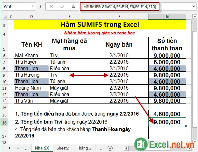 Hàm SUMIFS trong Excel 4