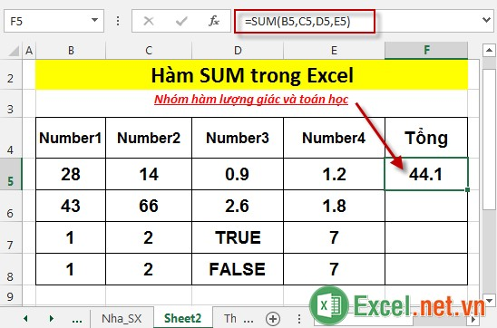 Hàm SUM trong Excel 3