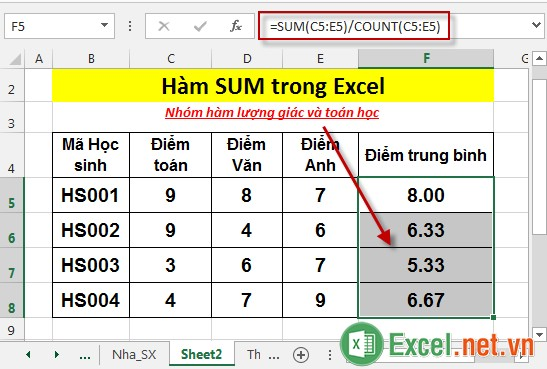 Hàm SUM trong Excel 9