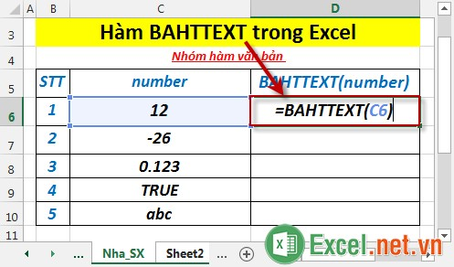 Hàm BAHTTEXT trong Excel 2