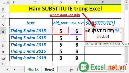 Hàm SUBSTITUTE trong Excel 2