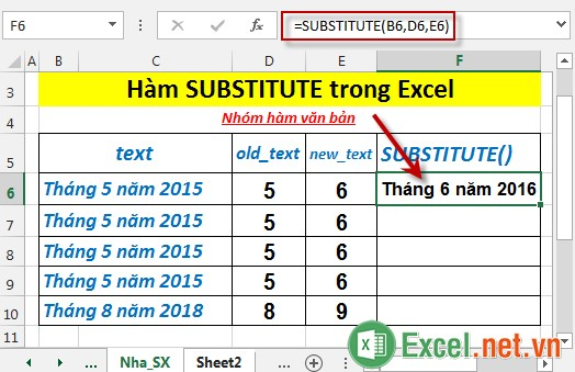 Hàm SUBSTITUTE trong Excel 3