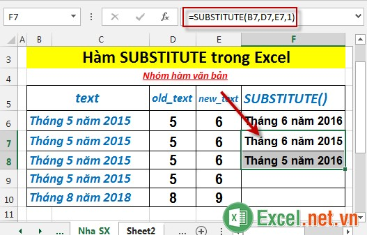 Hàm SUBSTITUTE trong Excel 4