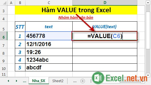 Hàm VALUE trong Excel 2