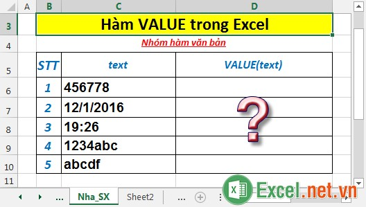 Hàm VALUE trong Excel