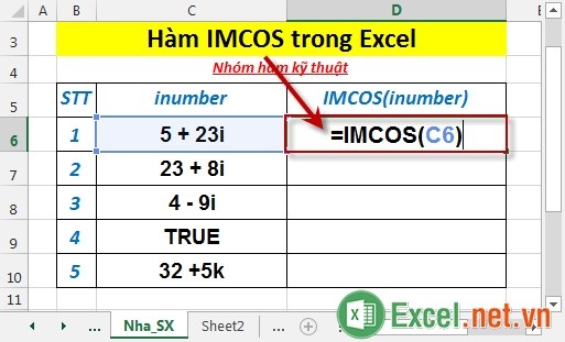 Hàm IMCOS trong Excel 2