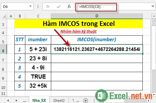 Hàm IMCOS trong Excel 3