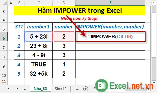 Hàm IMPOWER trong Excel 2