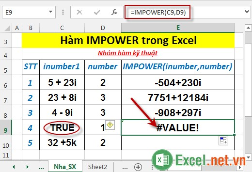 Hàm IMPOWER trong Excel 5