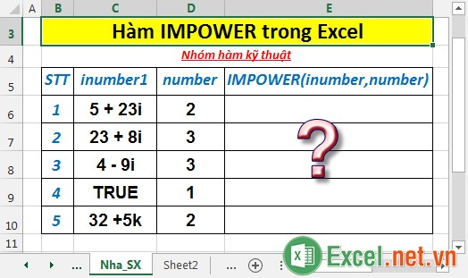 Hàm IMPOWER trong Excel