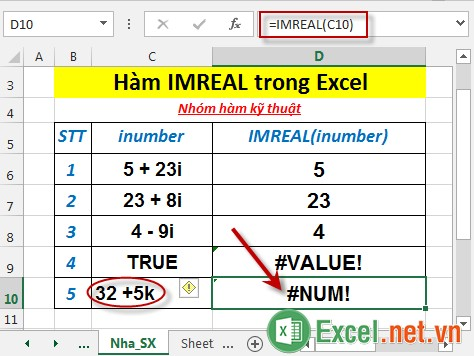 Hàm IMREAL trong Excel 6